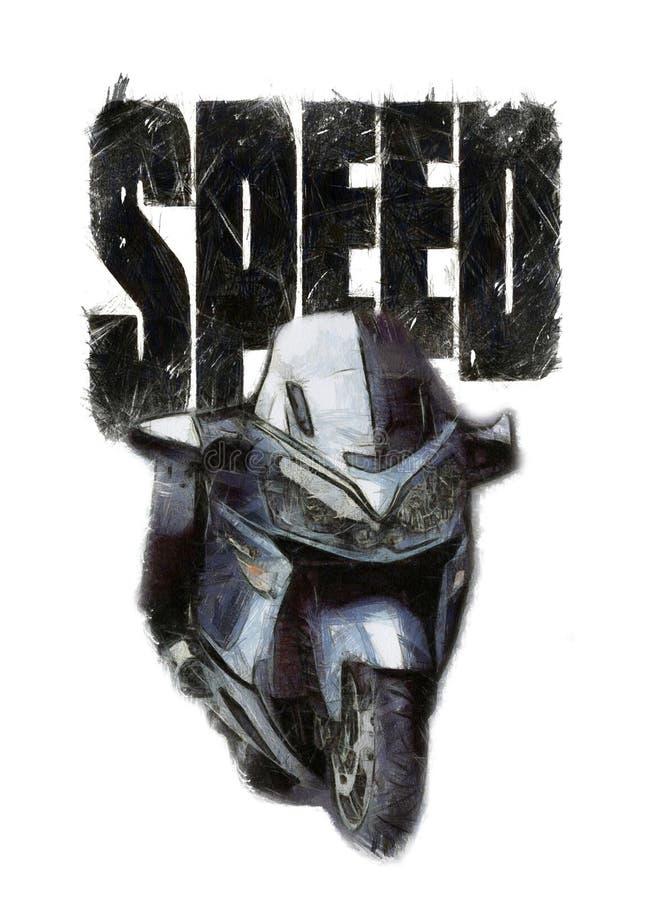 immagine del motociclo dell'acquerello, stampa della maglietta illustrazione di stock