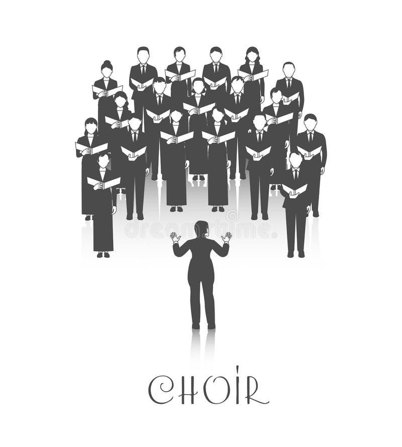 Immagine del nero di Perforrmance del coro illustrazione vettoriale