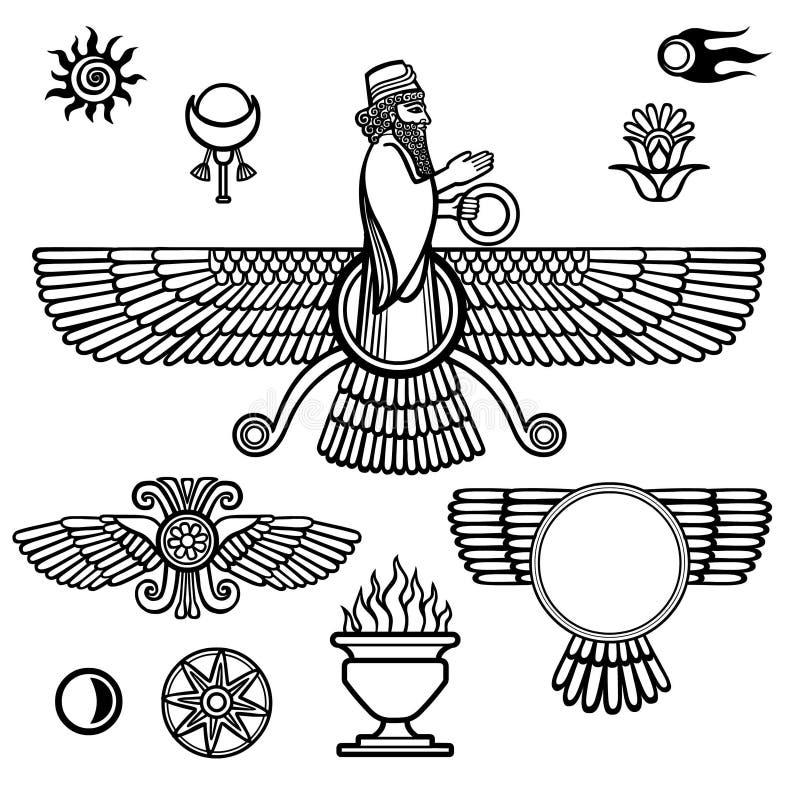 Immagine del profeta Farvahar Insieme dei simboli esoterici illustrazione di stock