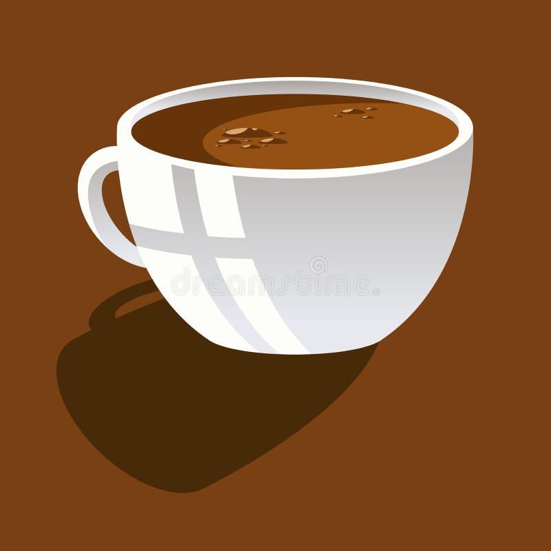Immagine del quadro televisivo della tazza ceramica bianca con caffè su un fondo marrone illustrazione di stock