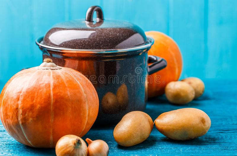 Immagine del vaso con il coperchio, verdure, patate, zucca, cipolle immagine stock libera da diritti