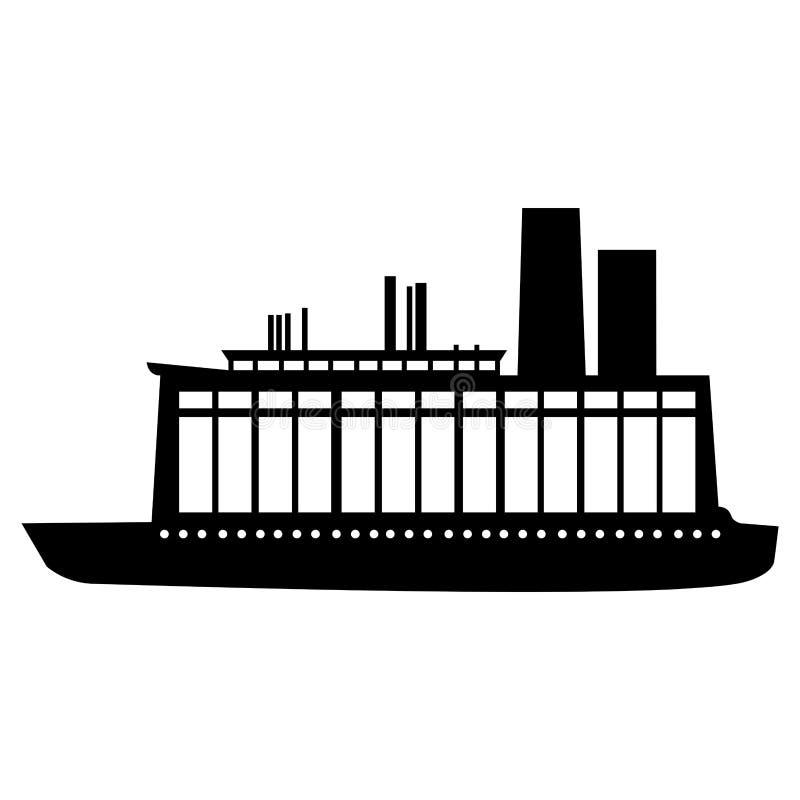 Immagine dell'icona del pittogramma della nave o della barca illustrazione di stock