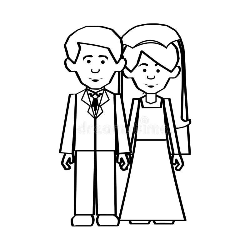 Immagine dell'icona delle coppie della persona appena sposata illustrazione di stock