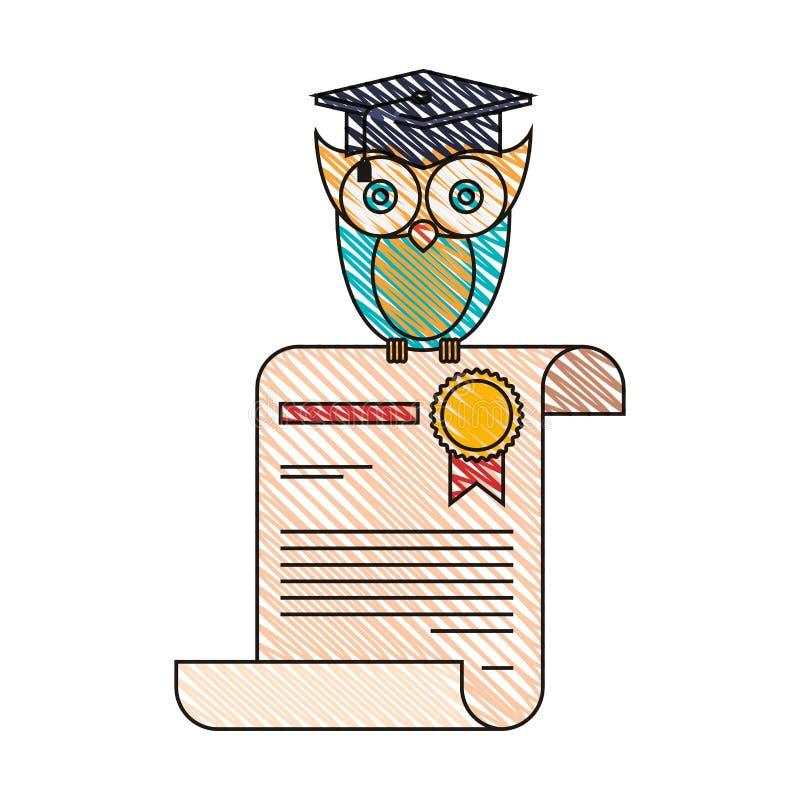Immagine della banda del pastello di colore di conoscenza del gufo in certificato illustrazione vettoriale