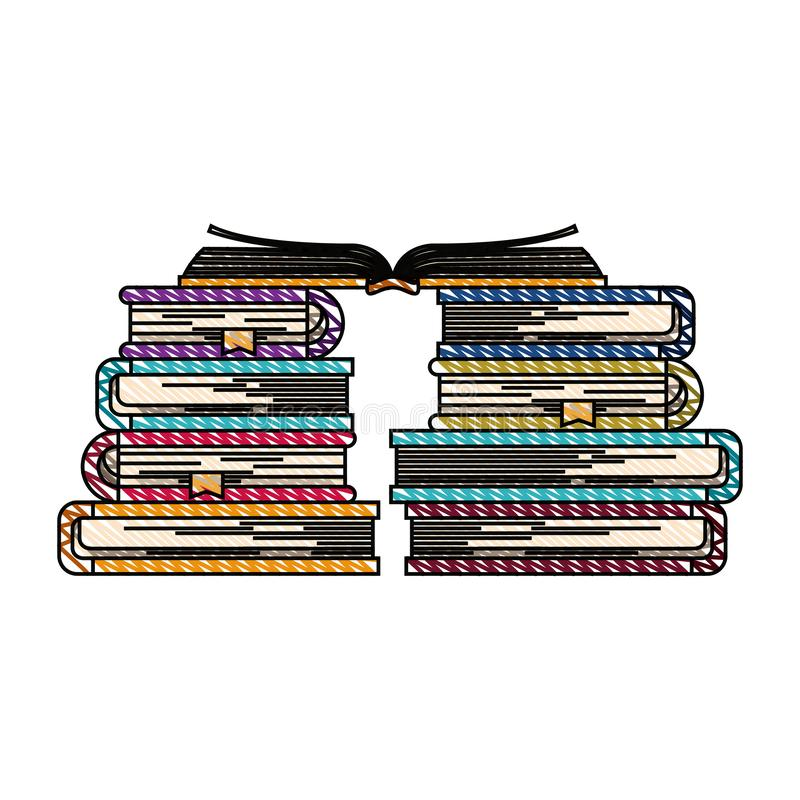 Immagine della banda del pastello di colore dei libri con il libro aperto nella cima illustrazione vettoriale