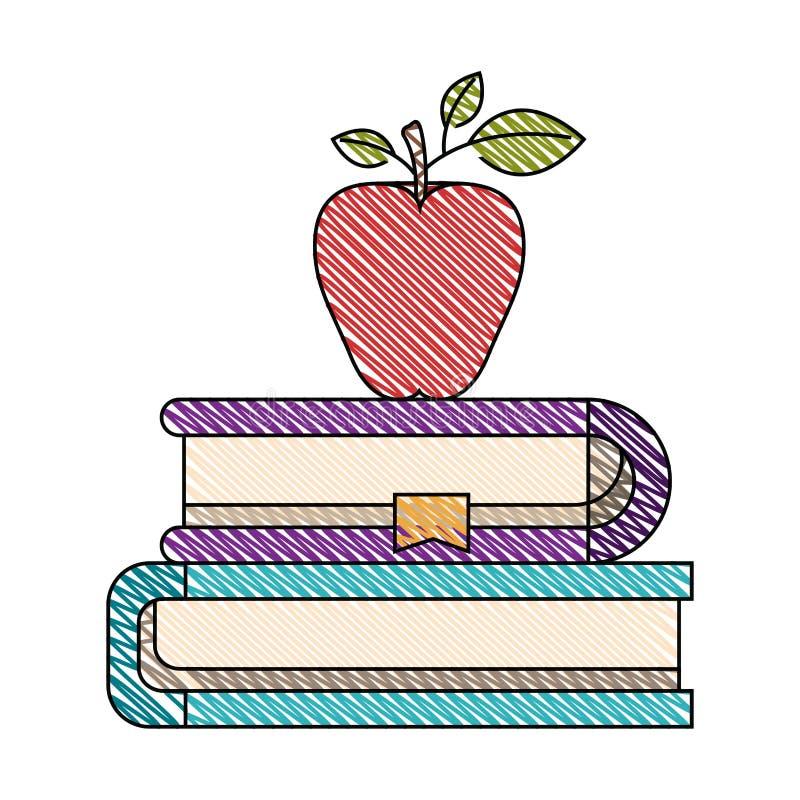 Immagine della banda del pastello di colore delle paia dei libri con il segnalibro e la mela royalty illustrazione gratis