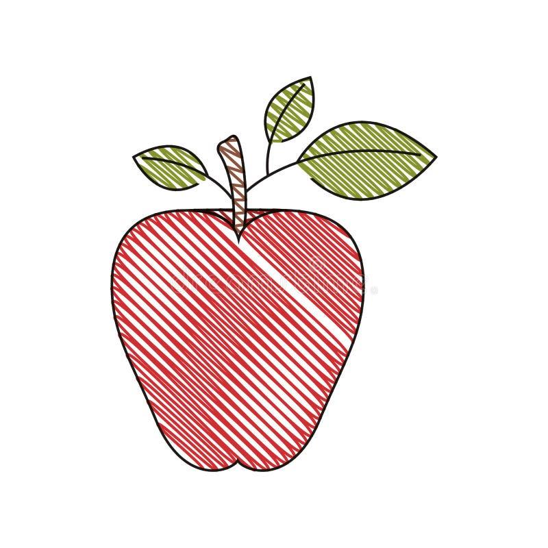 Immagine della banda del pastello di colore della frutta rossa della mela royalty illustrazione gratis