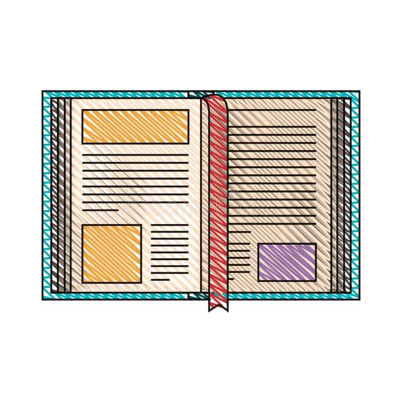 Immagine della banda del pastello di colore del libro aperto con il segnalibro royalty illustrazione gratis