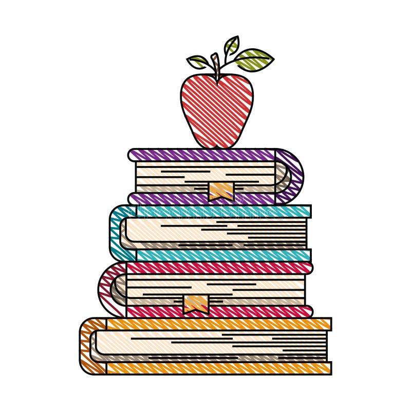 Immagine della banda del pastello di colore della pila di libri con la frutta della mela illustrazione di stock