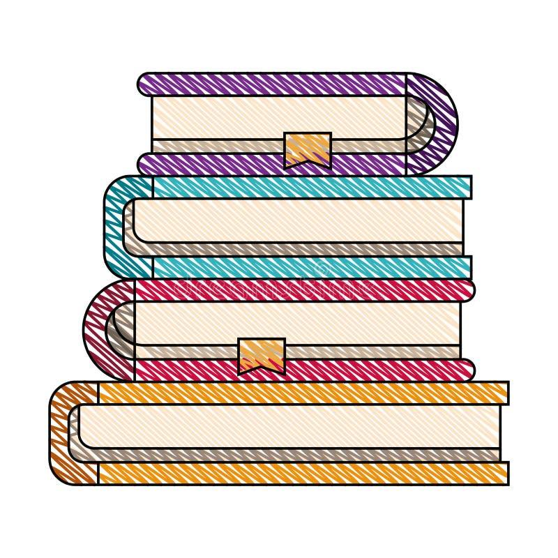 Immagine della banda del pastello di colore della raccolta della pila dei libri con il segnalibro illustrazione di stock
