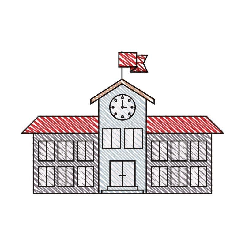 Immagine della banda del pastello di colore della struttura della High School con l'orologio e la bandiera illustrazione vettoriale
