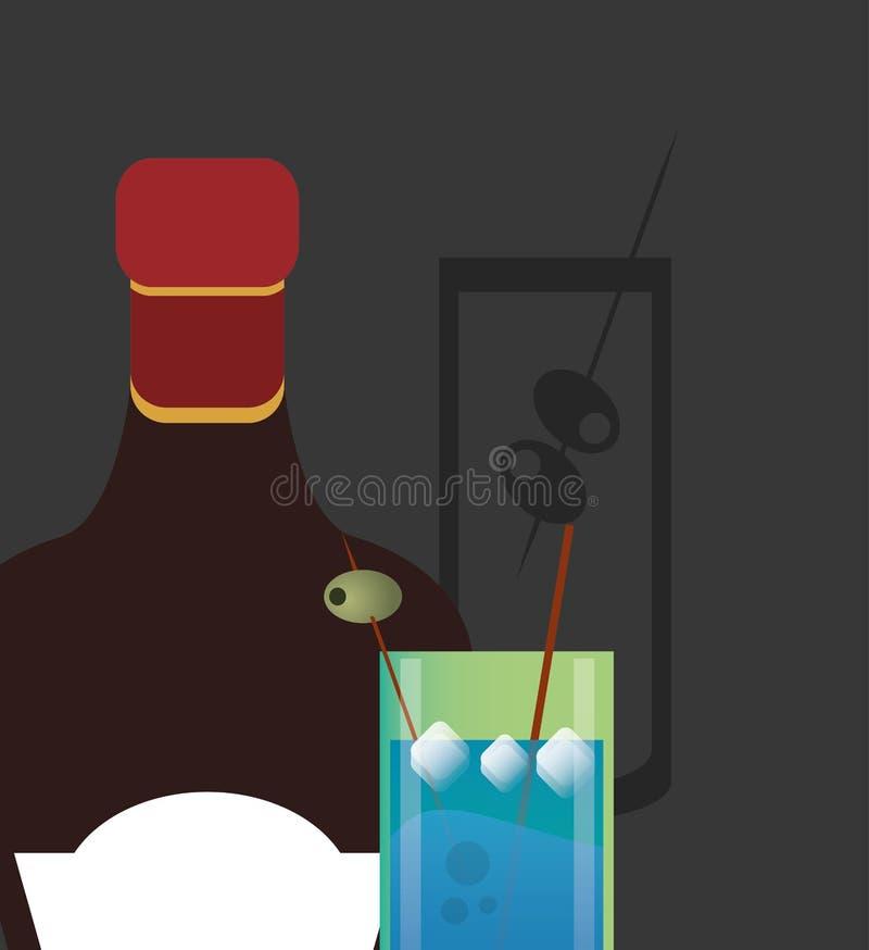 Immagine della bottiglia di vetro e del liquore della bevanda del cocktail royalty illustrazione gratis