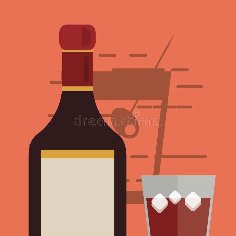 Immagine della bottiglia di vetro e del liquore della bevanda del cocktail illustrazione vettoriale