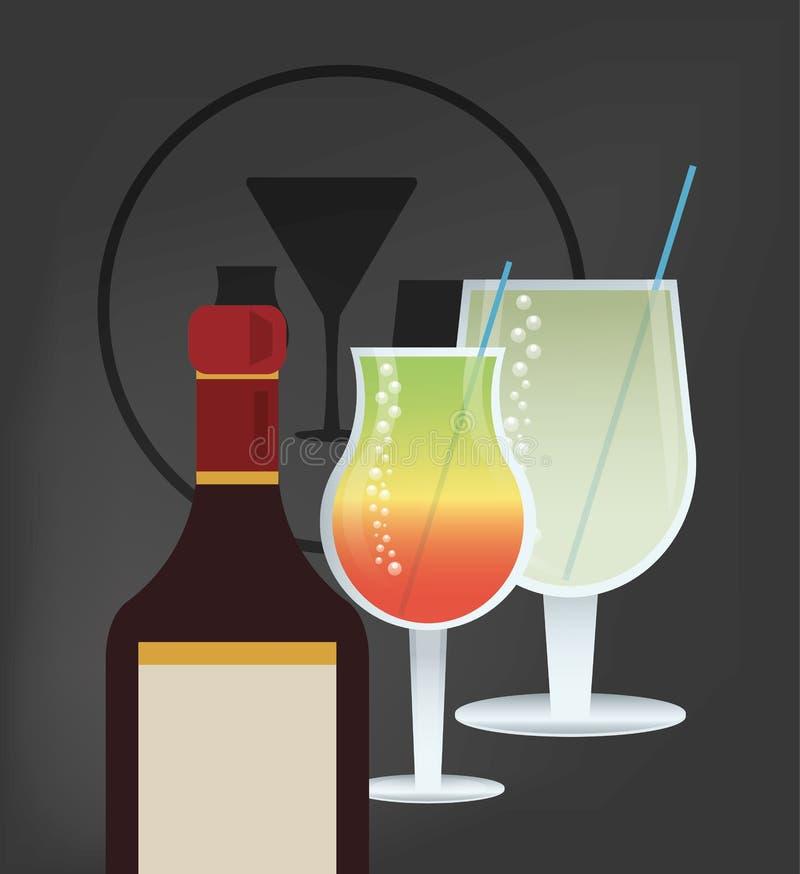 Immagine della bottiglia di vetro e del liquore della bevanda del cocktail illustrazione di stock