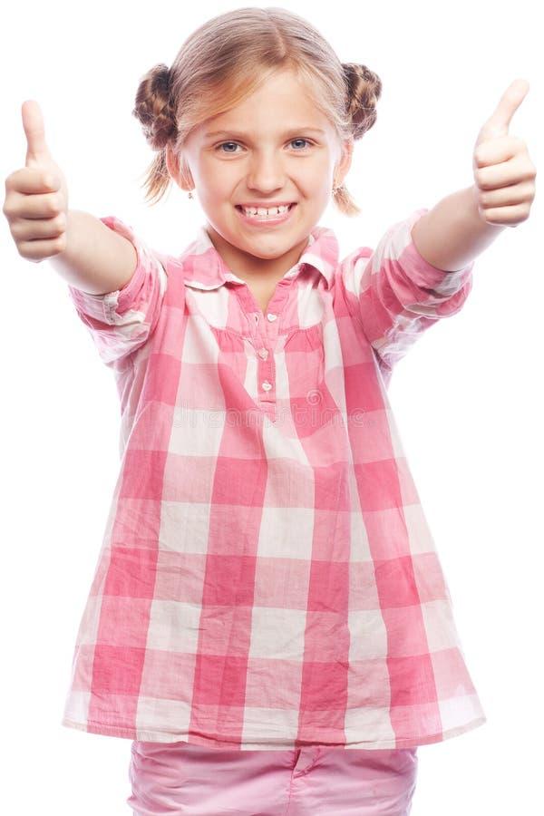 Immagine della condizione felice del bambino della bambina isolata sopra fondo bianco immagine stock