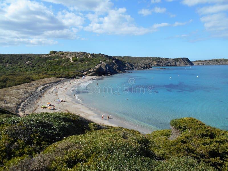 Immagine della costa dell'isola di Baeutiful Menorca in Spagna Un paradiso naturale fotografie stock libere da diritti