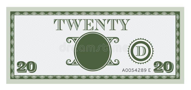 Immagine della fattura di soldi venti Con spazio per aggiungere il vostro testo illustrazione di stock