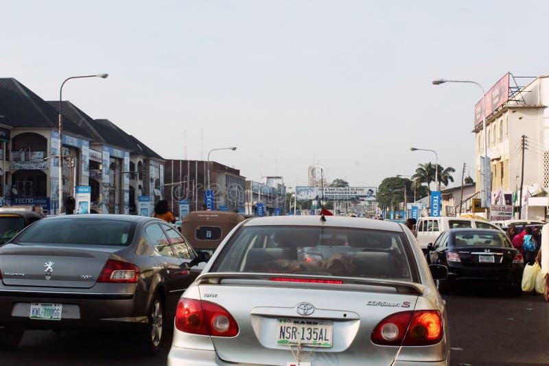 Immagine della lumaca del traffico a Leventis, mercato centrale di Kaduna, Nigeria fotografie stock