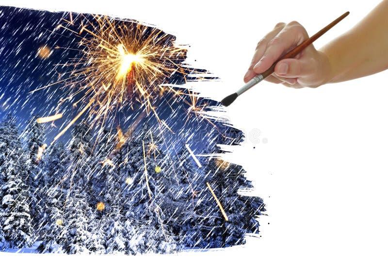 Immagine della pittura della mano con l'albero di Natale immagine stock