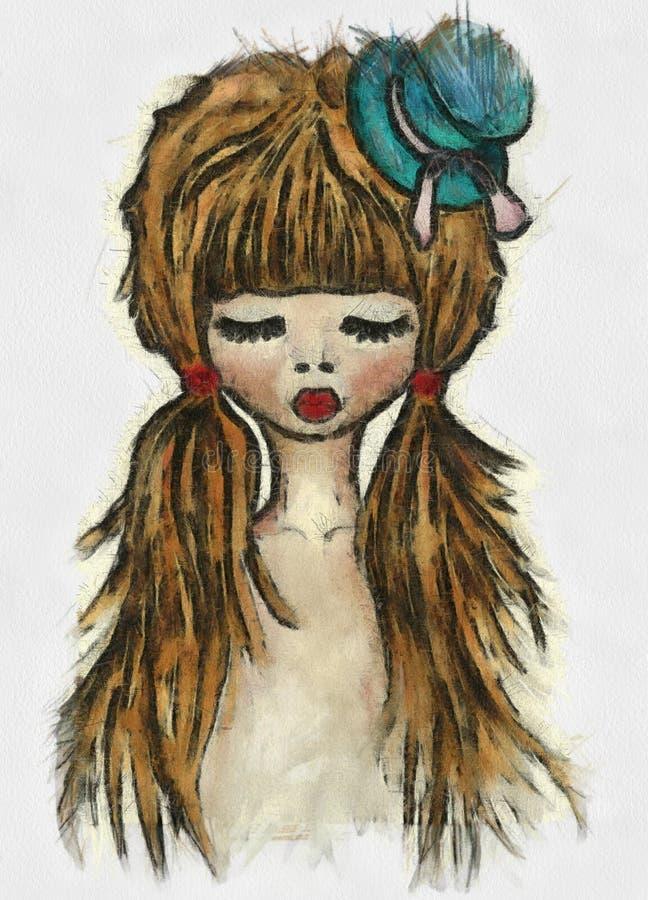 immagine della ragazza dell'acquerello, stampa della maglietta immagini stock libere da diritti