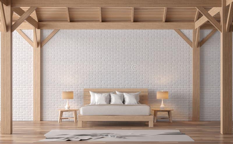Immagine della rappresentazione della camera da letto 3d di stile del sottotetto illustrazione di stock