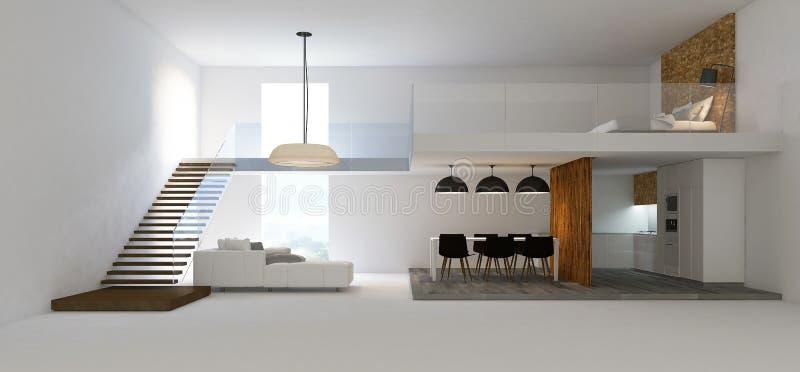 immagine della rappresentazione 3d di interior design del doppio spazio illustrazione di stock