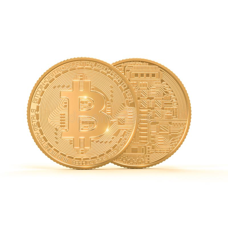 immagine della rappresentazione 3d della moneta dorata del bitcoin su fondo bianco royalty illustrazione gratis