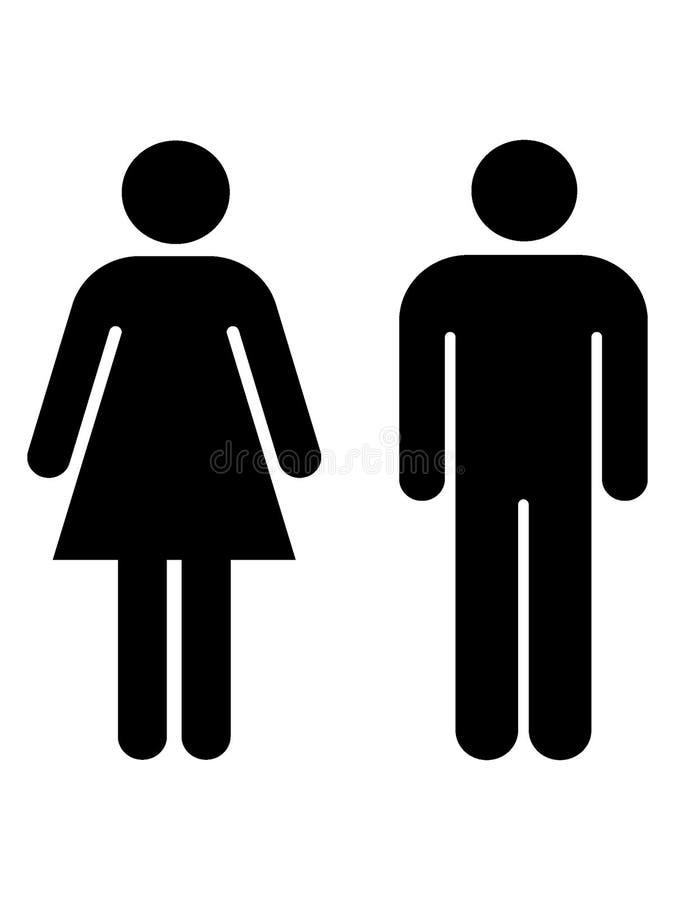 Immagine della siluetta del maschio e dei simboli femminili del bagno illustrazione di stock