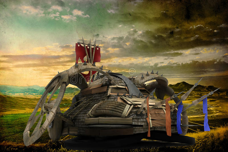 Immagine delle montagne con l'automobile di fantasia fotografie stock libere da diritti