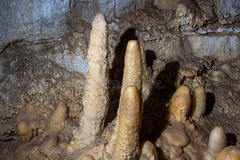 Immagine delle stalagmite nella caverna fotografia stock libera da diritti
