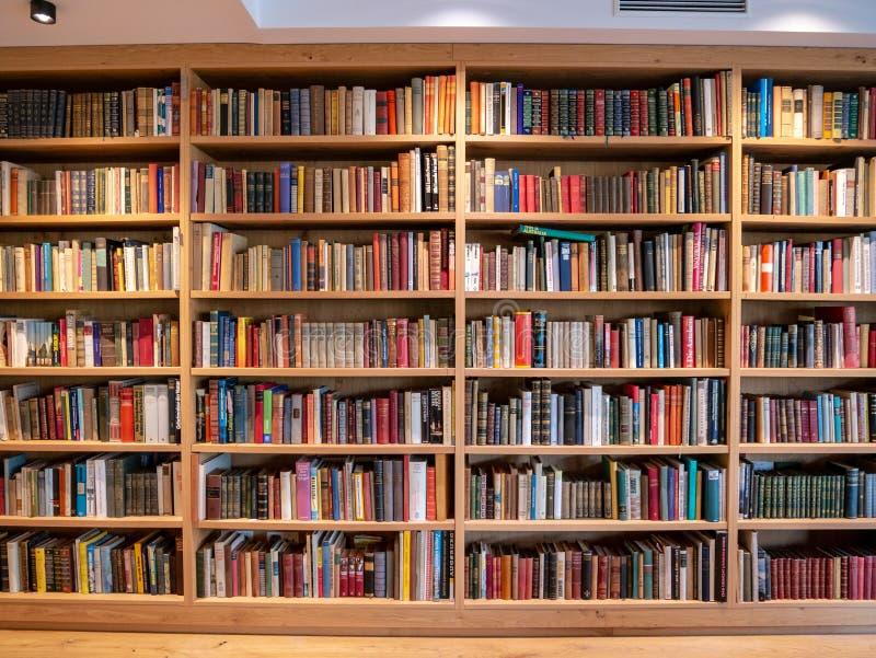 Immagine dello scaffale di libro di legno con i libri fotografia stock libera da diritti