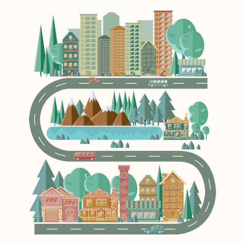 Immagine dettagliata di un paesaggio della città Stile di vita attivo Editabile facile per l'elaborazione delle opzioni nuove per royalty illustrazione gratis