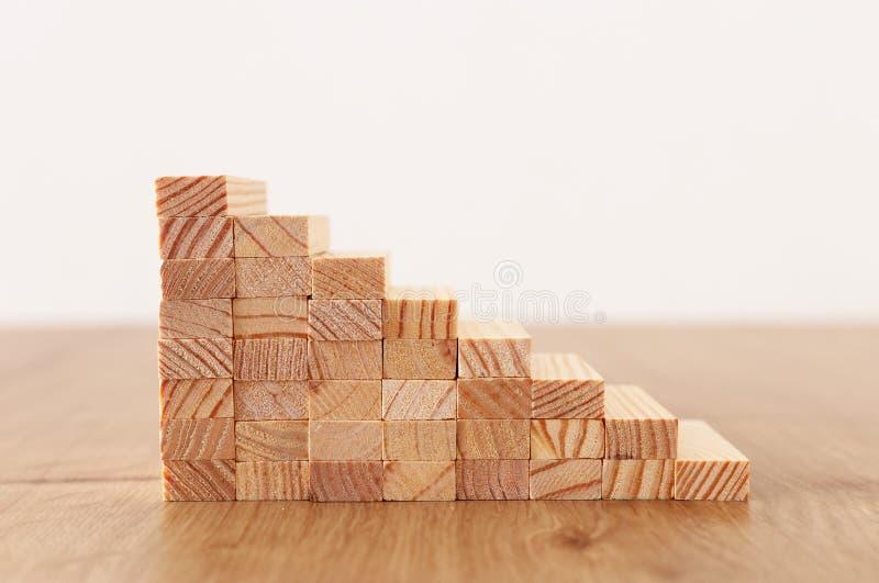 Immagine di affari di organizzazione dei blocchi di legno che impilano come scale di punto Concetto di sviluppo e di successo fotografie stock libere da diritti