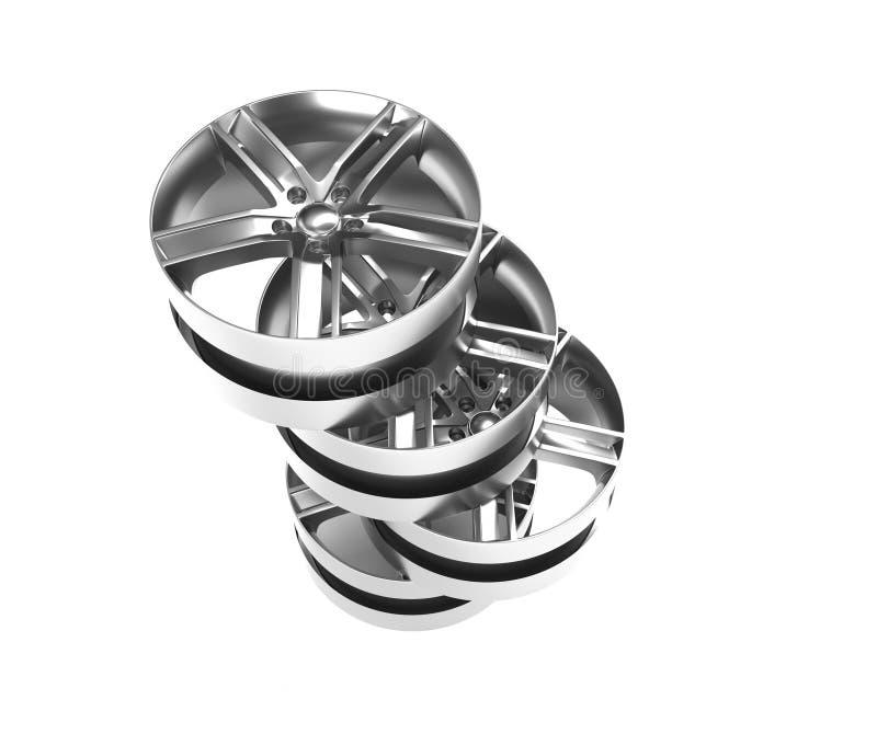 Immagine di alluminio 3D della ruota rendere la rappresentazione di alta qualità L'immagine bianca ha calcolato l'orlo della lega royalty illustrazione gratis