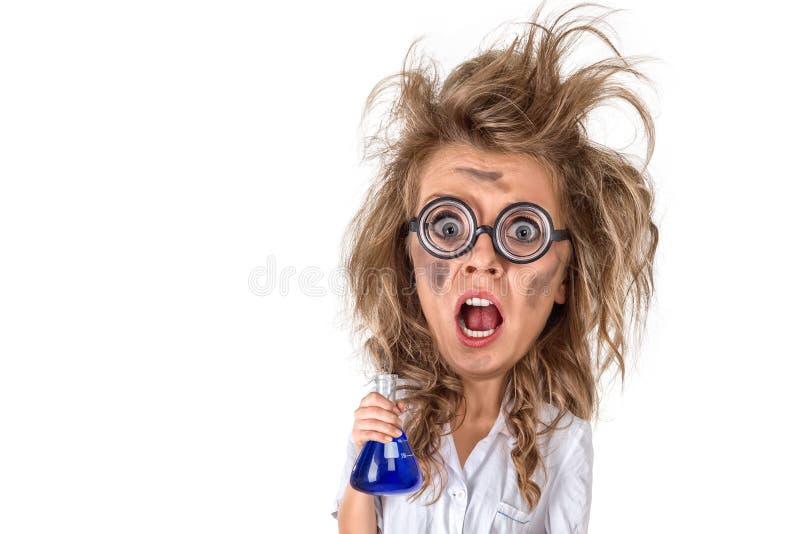 Immagine di caricatura dello scienziato pazzo immagini stock