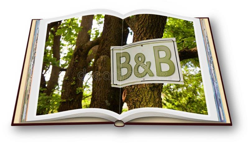 Immagine di concetto di bed and breakfast - 3D rendono di un libro aperto della foto isolato su fondo bianco illustrazione vettoriale