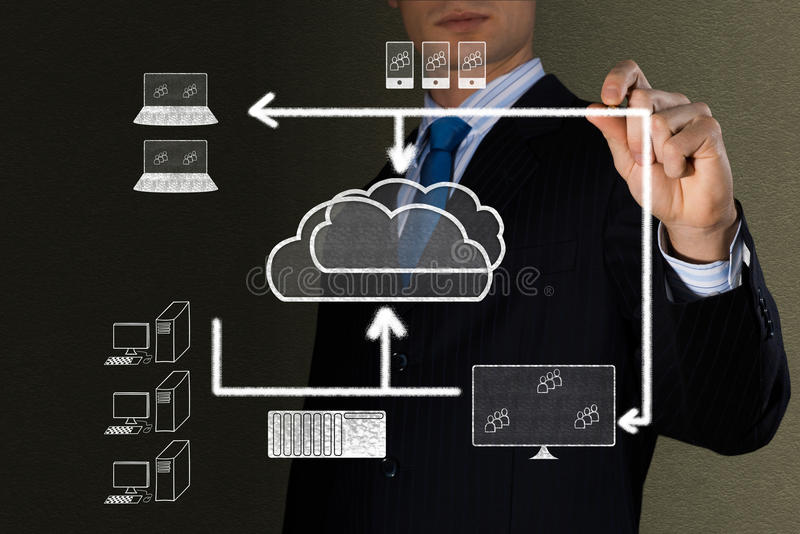 Immagine di concetto delle tecnologie dell'alta nuvola fotografia stock libera da diritti