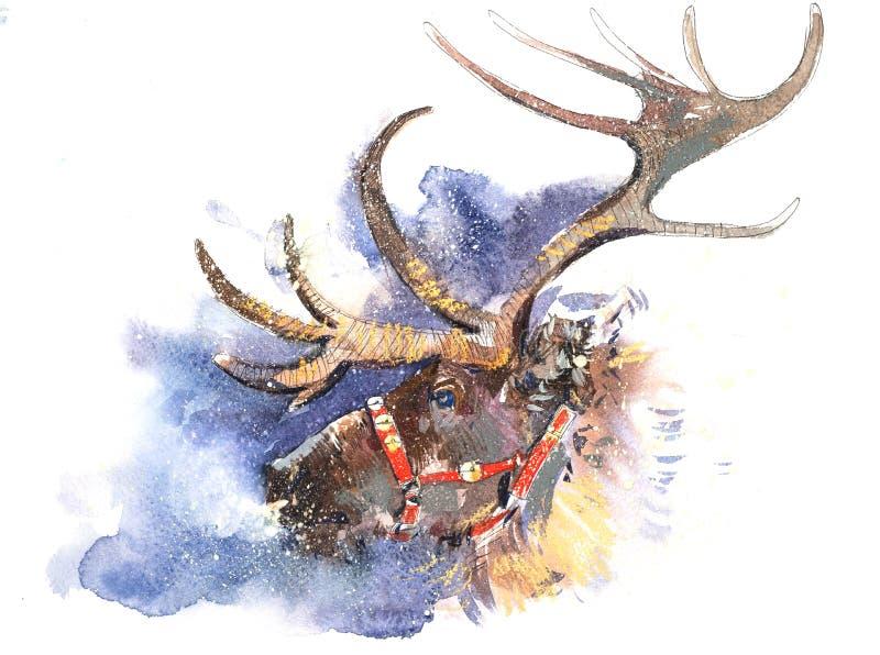 Immagine di fiaba dei cervi di Santa Claus di Natale nell'illustrazione dell'acquerello delle precipitazioni nevose royalty illustrazione gratis