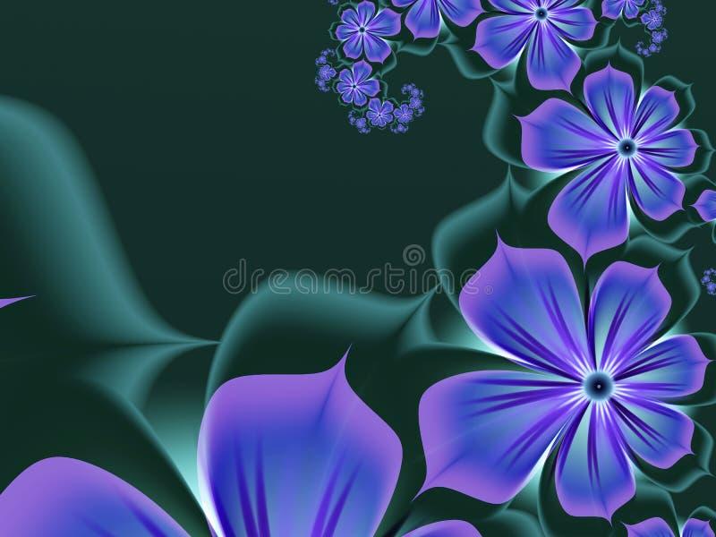 Immagine di frattale, fondo per l'inserimento del vostro testo Fiori del blu di fantasia illustrazione di stock
