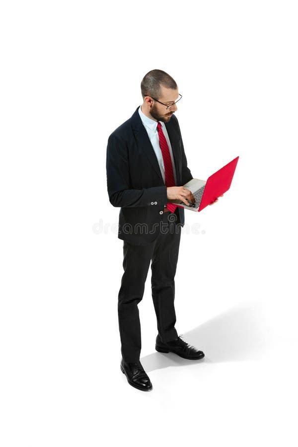 Immagine di giovane uomo barbuto bello che controlla il fondo bianco dello studio con il computer portatile immagine stock