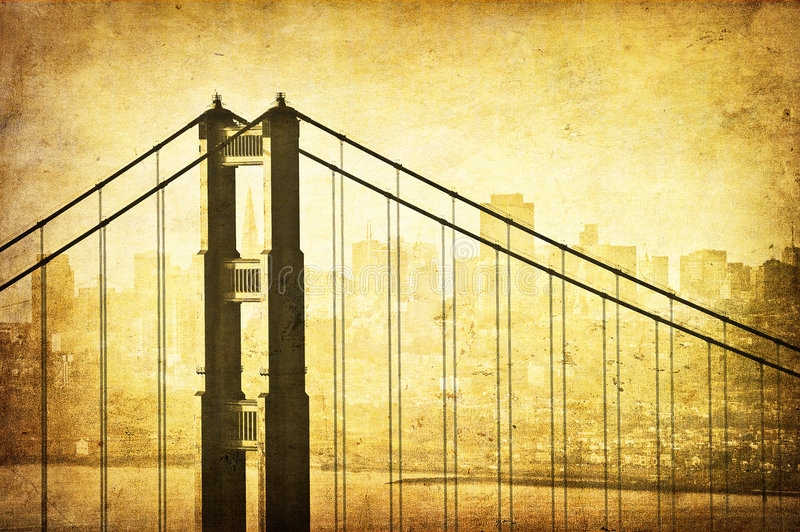 Immagine di Grunge del ponticello di cancello dorato, San Francisco, royalty illustrazione gratis