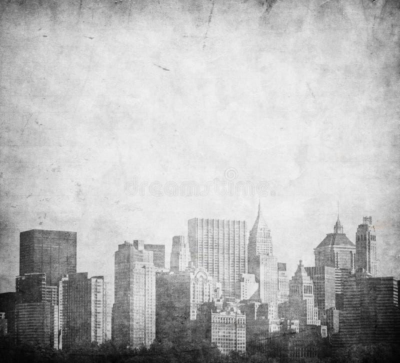 Immagine di Grunge dell'orizzonte di New York immagine stock