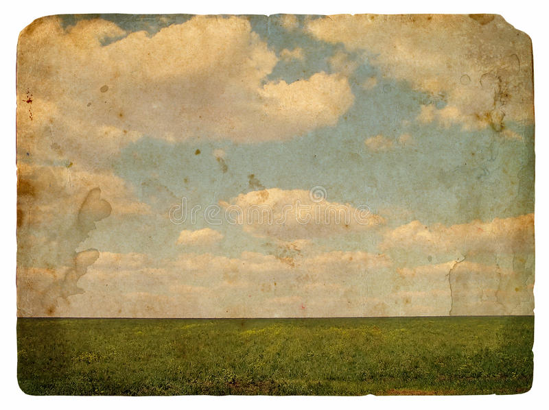 Immagine di Grunge di un campo e di un cielo con le nubi illustrazione di stock