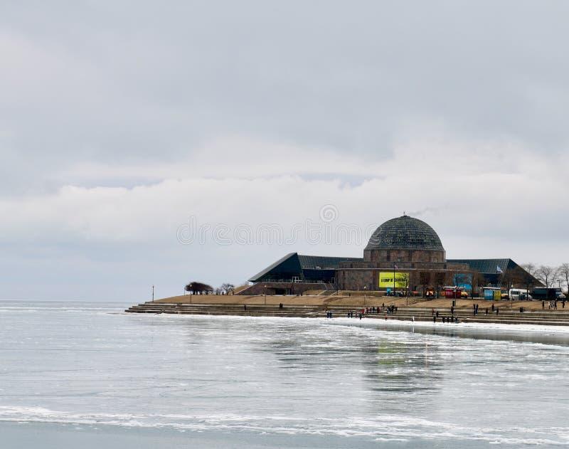 Immagine di inverno del planetario di Adler fotografia stock libera da diritti