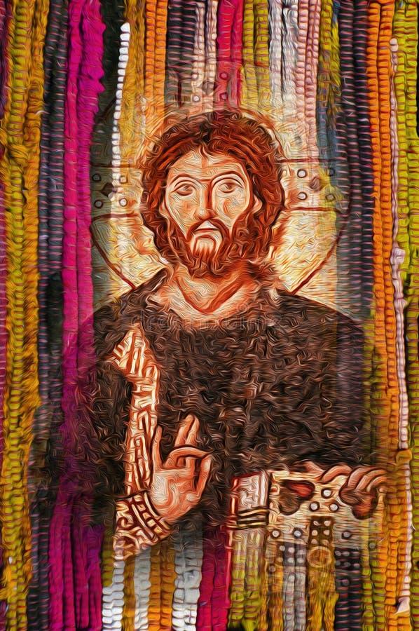 Immagine di Jesus Christ sul fondo giallo arancione colourful di struttura del tessuto illustrazione di stock