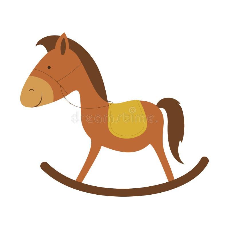 Immagine di legno dell'icona del cavallo royalty illustrazione gratis