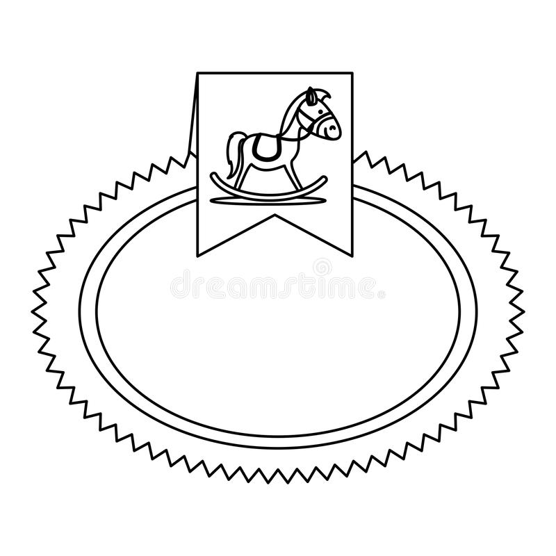 Immagine di legno dell'icona del cavallo illustrazione di stock