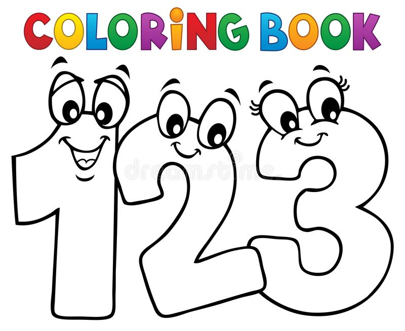 Immagine 1 di numeri del fumetto del libro da colorare illustrazione vettoriale