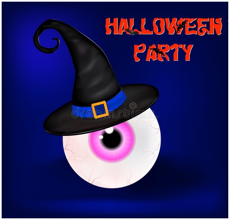 Immagine di progettazione piana del fondo spettrale felice di Halloween con il partito di Halloween del segno Illustrazione di ve illustrazione vettoriale