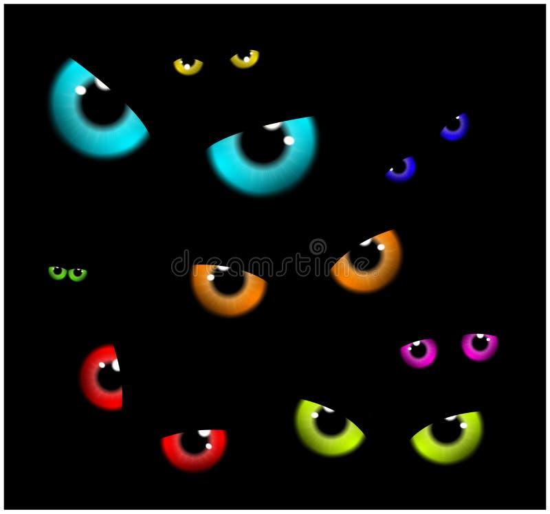 Immagine di progettazione piana del fondo spettrale felice di Halloween Vector l'illustrazione della carta dell'invito con gli oc illustrazione di stock
